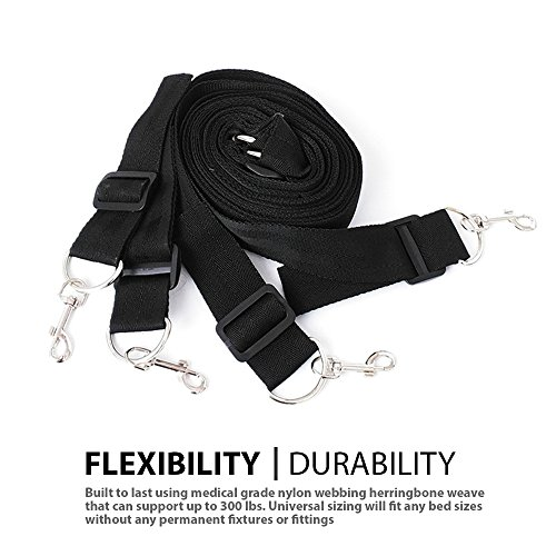 FriskyNite™ Premium Bed Restraint System Kit Medical Grade Strap with Soft Furry Comfortable Wrist and Ankle Straps by FriskyNite (Image #2)