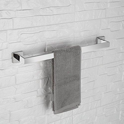 LuckIn Towel Bar Sets Stainles Steel, 4pcs Bathroom Hardware Set Wall Mounted Bath Accessory Sets Complete with 24 Inch Towel Bar Rod, Toilet Paper Holder, Towel Ring, Robe Hook by LuckIn (Image #3)