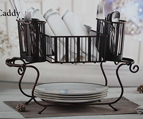 (Mesa Delaware Stackable 2 Piece Wrought Iron steel with antiqued black finish Buffet Caddy)