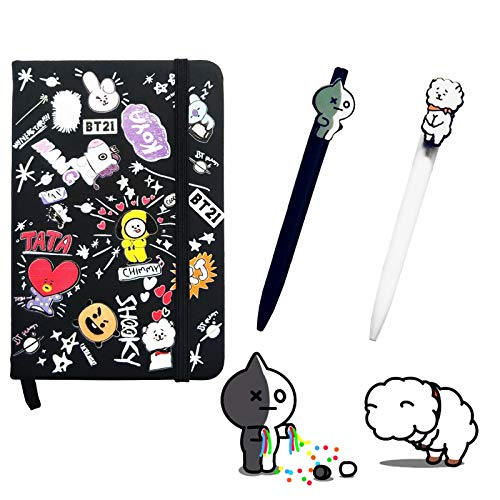 eKoi Cute KPOP BTS Bangtan Boys Merchandise Notebook Black Hardcover Memo Book Lined Pages Ball Point Pen Set for Diary Journal School Student Writing Stationery Supplies RJ VAN Collectables Merch