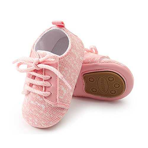 LUWU Baby Boy Girls Soft Sole Anti-Slip Infant Toddler First Walking Crib Shoes (6-12 Months, Pink1)