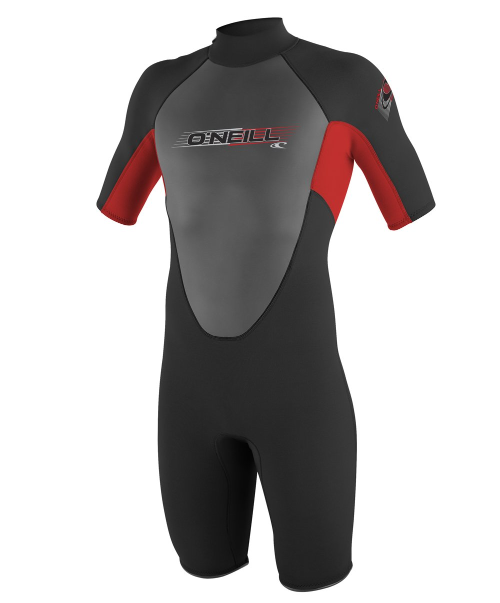O'Neill Youth Reactor 2mm Back Zip Spring Wetsuit, Black/Red/Black, 8 by O'Neill Wetsuits