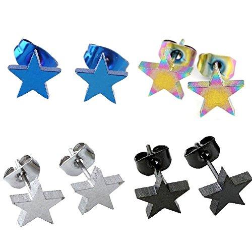 PiercingJ - 4Paires Mixtes Boucle d'Oreille Cartilage Tragus Star Chanceux Etoile Pentacle Acier Inoxydable Bijoux de Corps 8mm