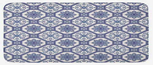 Lunarable Arabian Kitchen Mat, Arabesque Floral Oriental Persian Afghan Medieval Baroque Tiles Shapes Tribal Artsy, Plush Decorative Kitchen Mat with Non Slip Backing, 47 W X 19 L Inches, Blue White