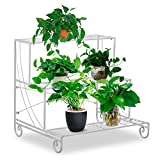 go2buy Tiered Outdoor Metal Plant Stand Wrought Iron Flower Pot Shelf Floor Style Multi Level Display Rack White