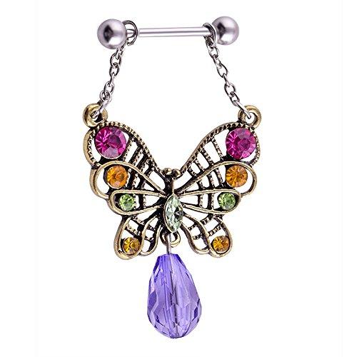 YiCheaGo 1pair Vintage Butterfly Nipple Piercing Surgical Steel Purple Zircon Gem