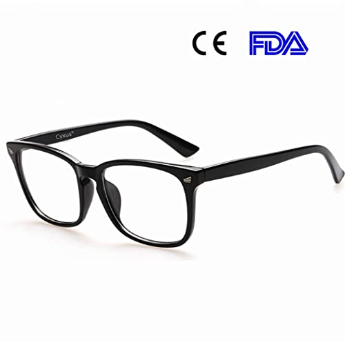 Cyxus Blue Light Filter Computer Glasses for Blocking UV Headache [Anti Eye Fatigue] Vintage Eyeglasses, Unisex(Men/Women) (Classic Black)