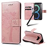 Galaxy S8 Plus Case,Samsung Galaxy S8 Plus Wallet Case,Galaxy S8 Plus 2017 Stand PU Leather Case,SKYMARS Cat Tree Embossed PU Leather Flip Kickstand Cards Slot Cash Pockets Wallet Magnetic Closure Book Style Case for Samsung Galaxy S8 Plus 2017 Tree Rose Gold