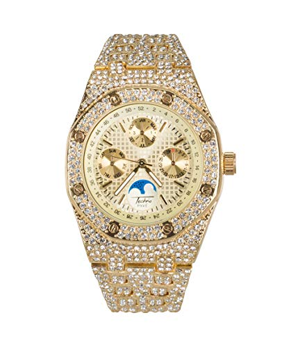 Bling-ed Out Men's Gold CZ Watch with Simulated Chronograph Dial | Japan Movement | Simulated Lab Diamonds (Ap Diamonds With Watch)