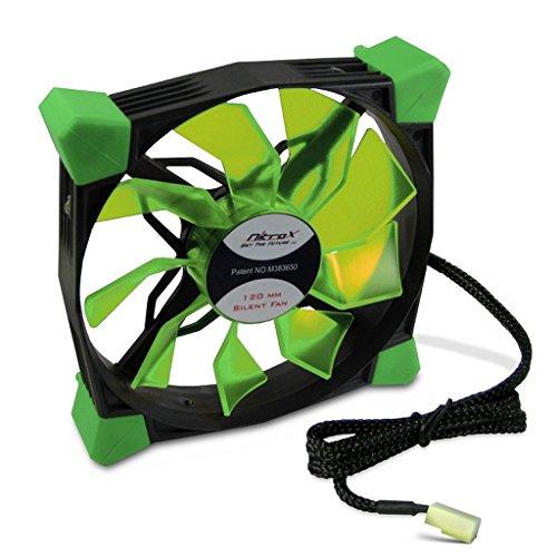 Gehäuse-Lüfter N-120-GR LED grün Gehäuselüfter für PC Computer 120mm sehr leise 19dB integriertes Dämpfungssystem