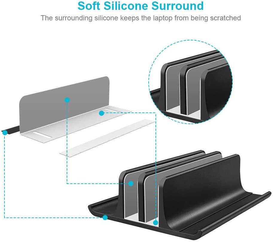 Double Adjustable Vertical Laptop Stand Newly Designed 2 Slots Aluminum Desktop Dual Holder for All MacBook//Chromebook//Surface//Dell//iPad Up to 44 cm Black
