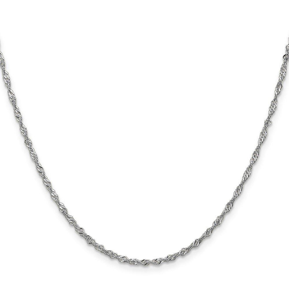 Brilliant Bijou 14k White Gold 1.7mm Singapore Chain Bracelet