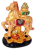 Chinese Oriental Year of the Horse Zodiac Sign Feng Shui Lucky Figurine with Bowl of Ingots