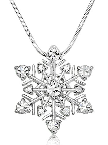 Mother Daughter Frozen Costumes (Small Crystal Snowflake Pendant Necklace Winter Bridal Fashion Jewelry Christmas Holiday Gift)