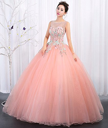Prom Wedding Line Long Quinceanera Pink A Women's Drasawee Dresses Tulle Ball Embroidery Gowns xqT8ZEWnw