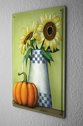 Retro Tin Sign Sunflowers pumpkin Metal Wall Vintage