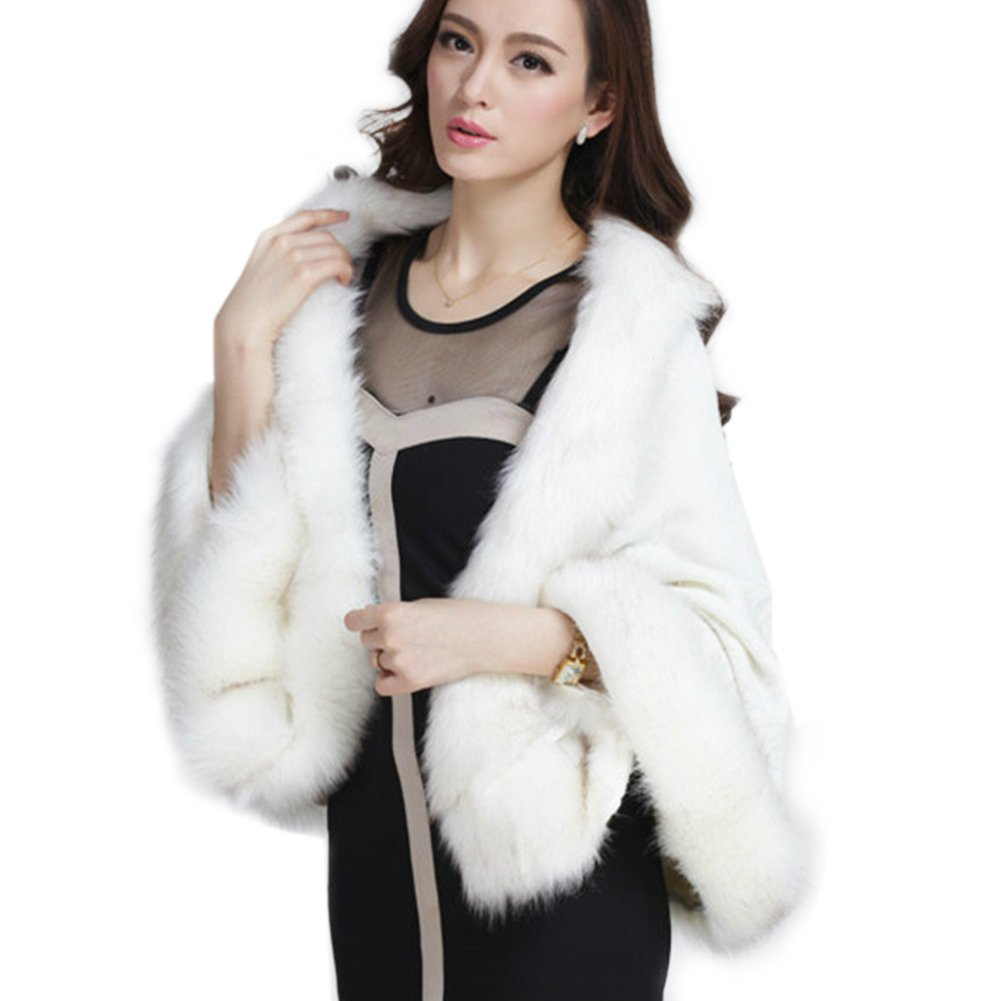 Ladies/Womens Faux Fur Trim Bat Cardigan Cape Poncho Cloak Shawl Coat, Cream, One Size