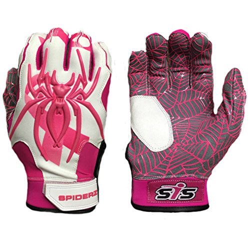 Hybrid Adult Baseball Bat (Spiderz Breast Cancer Awareness-White/Pink HYBRID Baseball/Softball Batting Gloves w/Spider Web Grip and Protective Top Hand in Adult & Youth Sizes - Professional (PRO) Quality (Adult L))