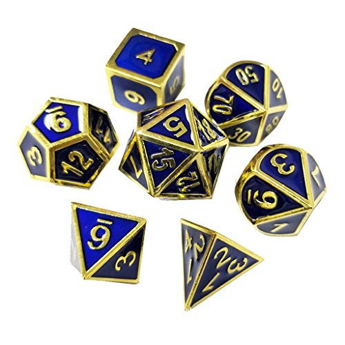 7PCS Zinc Alloy Metal Dice Polyhedral Dice D20 D12 D10 D8 D6 D4 for Dungeons and Dragons DND RPG MTG Table Games 16mm Blue Gold with (Metal Set Game Table)
