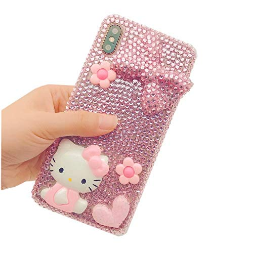 DVR 4000 iPhone Xs Max Diamond Case,Handmade Pink Bow Cartoon Cat Bling Glitter Diamond Shining Sparking Crystal Rhinestone Phone Case for iPhone Xs Max 6.5-inch,NO5
