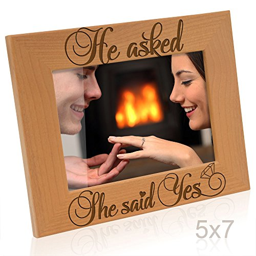 Kate Posh - He Asked, She Said Yes Engraved Natural Wood Picture Frame - Engagement Gifts, Best Friends Gifts, Valentine's Day Gifts, Christmas Gifts, Future Mr. & Mrs. Gifts (5x7-Horizontal) -