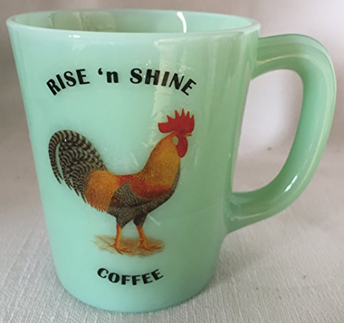 Rise N Shine Coffee - Chicken Leghorn Rooster - Jade Jadeite Jadite Green Glass Coffee Mug - USA - American Made - Leghorn Chickens