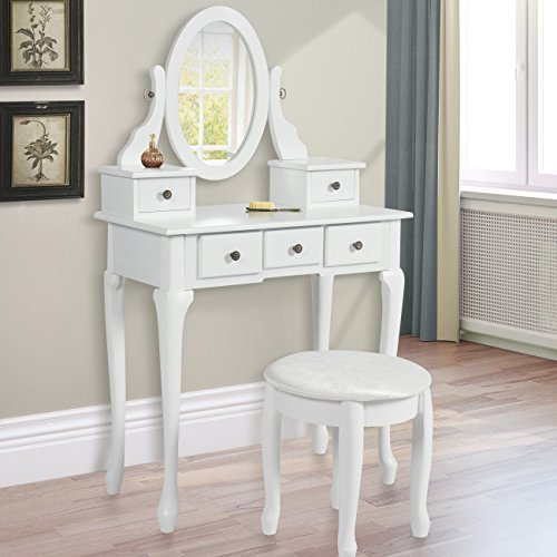 Best Choice Products Vanity Table Set Jewelry Makeup Desk Wood Construction, White (Makeup Table Vanity White)