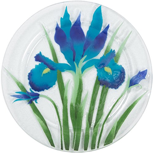 Fusion Art Glass 11-Inch Round Plate with Iris Design
