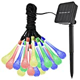 EASTERNSTAR Solar Outdoor String Lights 19.6ft 30 LED Fairy Water Drop Style Waterproof Lamp for Halloween Christmas Pergola Garden Patio Lawn Fence Party Wedding Decoration(Multi Color)