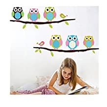 JXULE Owl BirdS Branch Wall Decal Removable Stickers Kids Nursery Art Mural DIY