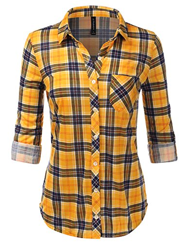 JJ Perfection Womens Long Sleeve Knit Plaid Collared Checkered Blouse Shirt MUSTARDNAVY S (Shirt Woven Sleeve)
