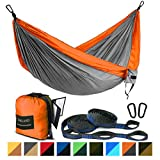 FARLAND Outdoor Camping Hammock - Portable Anti-Fade Nylon Single & Double Hammock with 2 Piece 14 or 16 Loop Straps Parachute Lightweight Hammock (Orange/Light Grey, Double 78 x 118 inch)