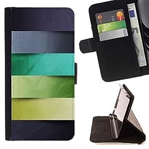 For Samsung Galaxy Note 5 5th N9200 Case , Gris Azul Verde Hojas Líneas Patrón- la tarjeta de Crédito Slots PU Funda de cuero Monedero caso cubierta de piel