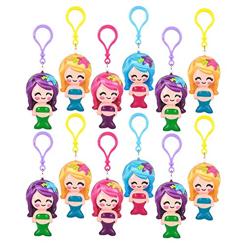 (Kicko Squishy Mermaid Backpack Clip - Pack of 12, 3 Inch Squishy and Squeezable Mermaid Keychain - Perfect as Stress and Anxiety Reliever, Sensory Toy, Party Supply, Fashion)
