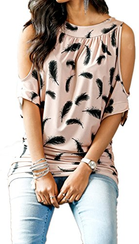 Faaaashion Women's Feather Printing Top Spring Summer Casual Short Sleeve Bat Shirt Plus size (Plus Size Women Clothing)
