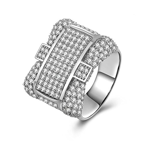 AmDxD Jewelry Silver Plated Men Promise Customizable Rings Cross Shape CZ Size 10.5,Engraving by AMDXD