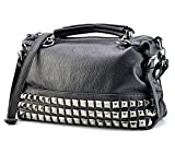 Mn&Sue Modern Punk Pu Leather Cross Body Silvery Rivet Studded Shoulder Nightclub Hobo Handbag for Lady