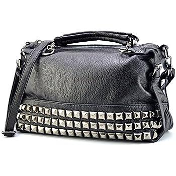 Mn Sue Modern Punk Pu Leather Cross Body Silvery Rivet Studded Shoulder  Nightclub Hobo Handbag for Lady ac2f6031a872a