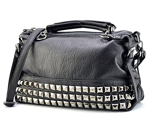 Mn&Sue Modern Punk Pu Leather Cross Body Silvery Rivet Studded Shoulder Nightclub Hobo Handbag for Lady ()