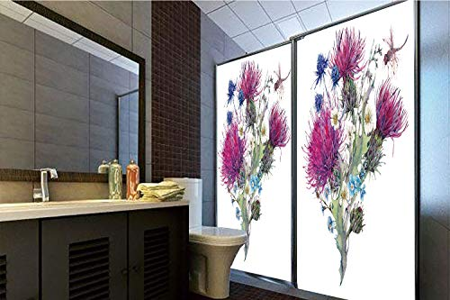 - 3D Privacy Window Film No Glue,Dragonfly,Summer Natural Meadow Herbs Bouquet Wild Thistles Chamomiles Watercolor Boho Art,Multicolor,70.86
