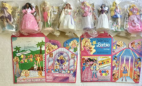 Barbie McDonald's Figures 1990 - Complete Set of 8 with Happy Meal Box
