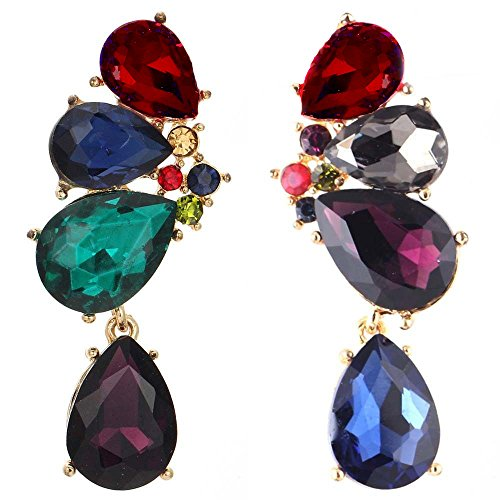 Large Statement Red Green Blue Purple Ruby Emerald Sapphire Rhinestone Earrings