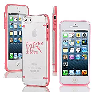 Apple iPhone 4 4s Ultra Thin Transparent Clear Hard TPU Case Cover Nurses Call the Shots (Pink)