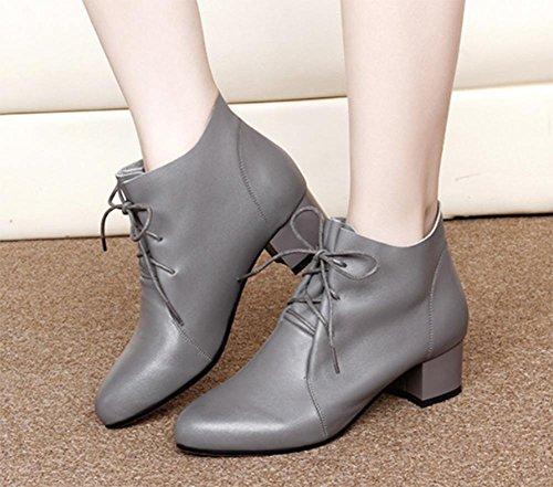 señora botas gruesa con Sra US8 de encaje de CN39 botas otoño de de UK6 con en y los de cargadores las primavera individuales las mujeres botas EU39 Martin CC5qrBwST