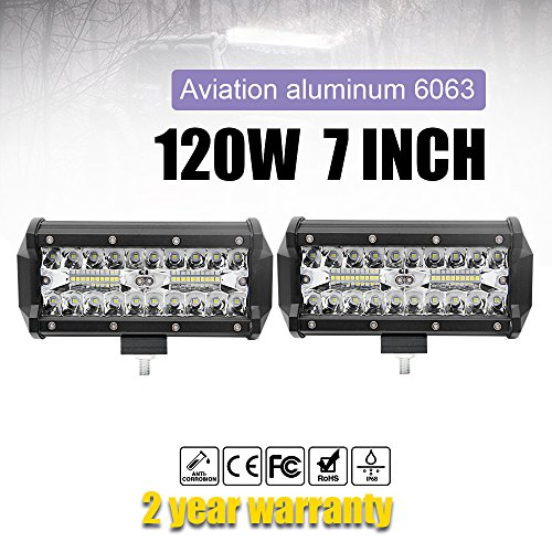 Jiuguang 2PCS 7 Inch LED Light Bar 120W Waterproof Cree Chip Driving Spot Light Three Row for Off-road Truck Car ATV SUV Jeep Cabin Boat (9632T-7inch 2pc)