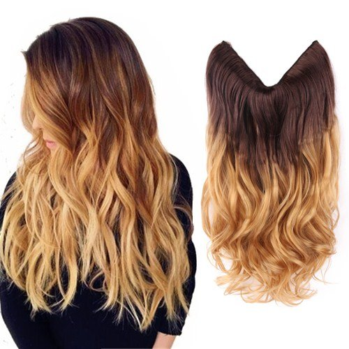 Creamily-20-Wavy-Curly-Brown-to-Golden-Blond-Ombre-Dip-Dye-Synthetic-Hair-Extension-Secret-Miracle-Heat-Resistance-Hair-Wire-Hairpieces-No-Clip-for-Women