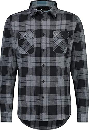 Flannel Shirt for Men - Dry Fit Long Sleeve Button Down - Moisture Wicking and Stretch Fabric Plaid Shirts Charcoal