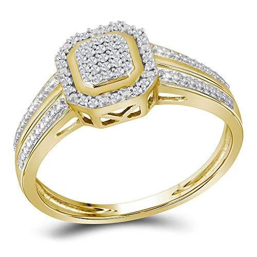 10k Yellow Gold Diamond Engagement Ring + Wedding Band Bridal Set 1/10 ct