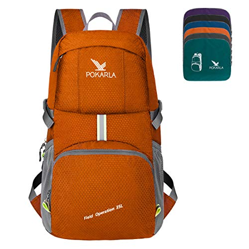 POKARLA 35L Ultra Lightweight Packable Foldable Backpack Durable Water Resistant Travel Hiking Camping Outdoor Daypack for Women Men Orange