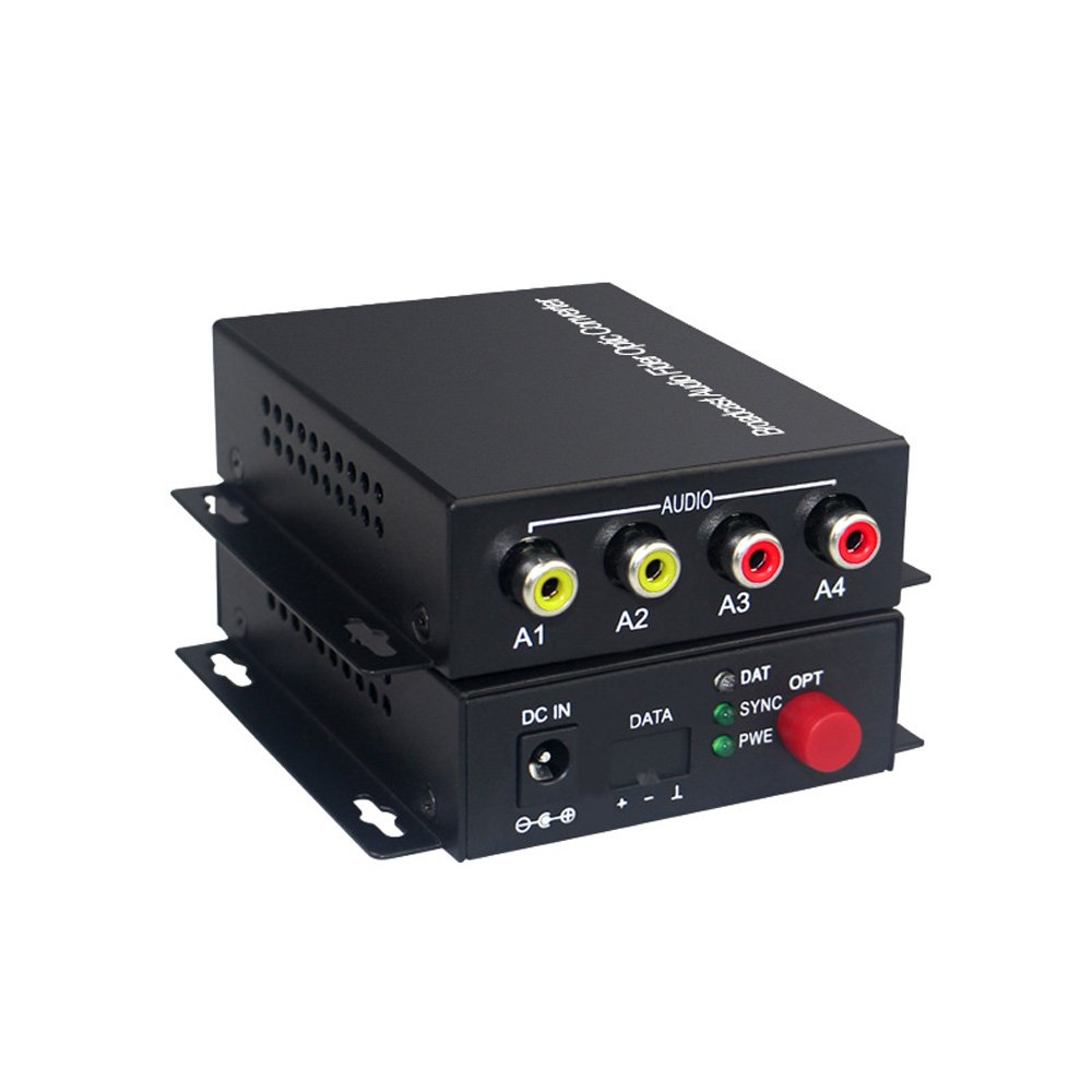 Guantai 2 CH Audio Over FC Fiber Optic Extender (Two Way,Bidirecional), Transmitter and Receiver, for Audio Intercom Broadcast System (Tx/Rx) Kit